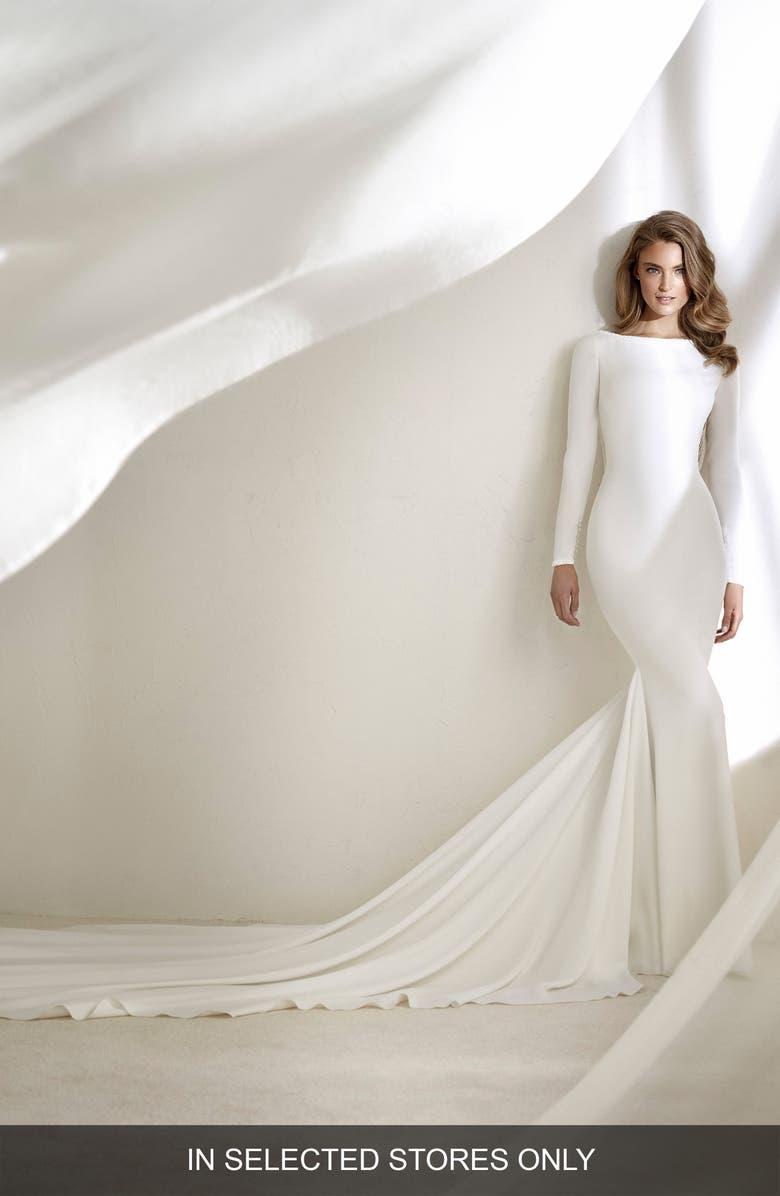 ATELIER PRONOVIAS Resal Fringe Back Mermaid Gown, Main, color, 900