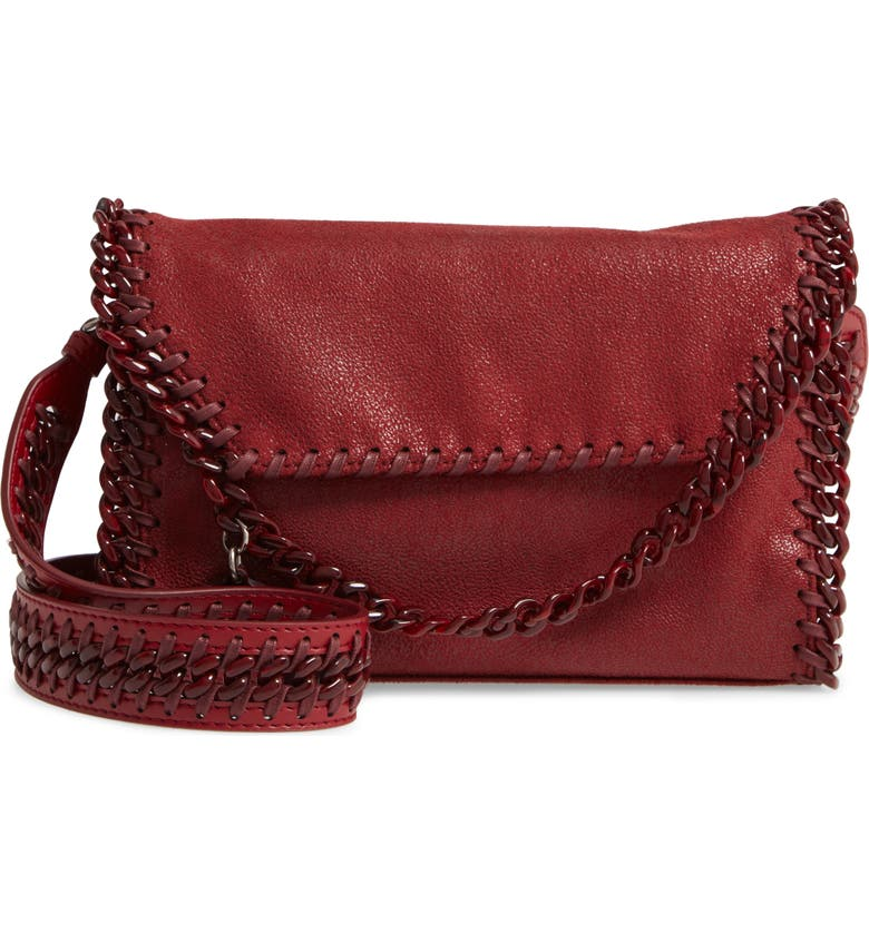STELLA MCCARTNEY Mini Falabella Shaggy Faux Leather Shoulder Bag, Main, color, RUBY
