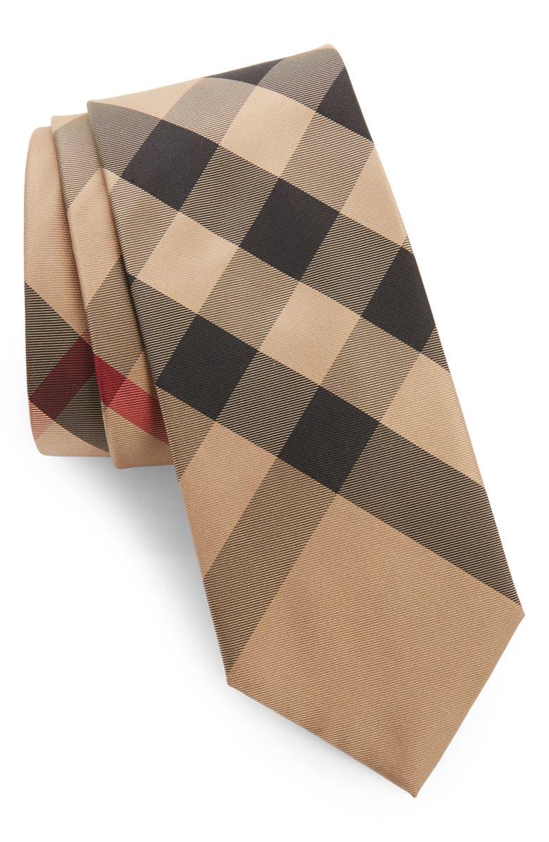 BURBERRY Manston Check Silk Tie, Main, color, 231