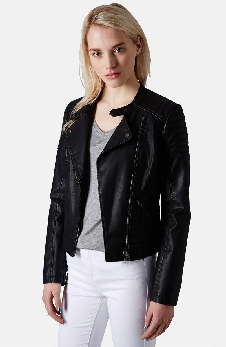 TOPSHOP 'Cherrie' Faux Leather Biker Jacket, Main, color, 001