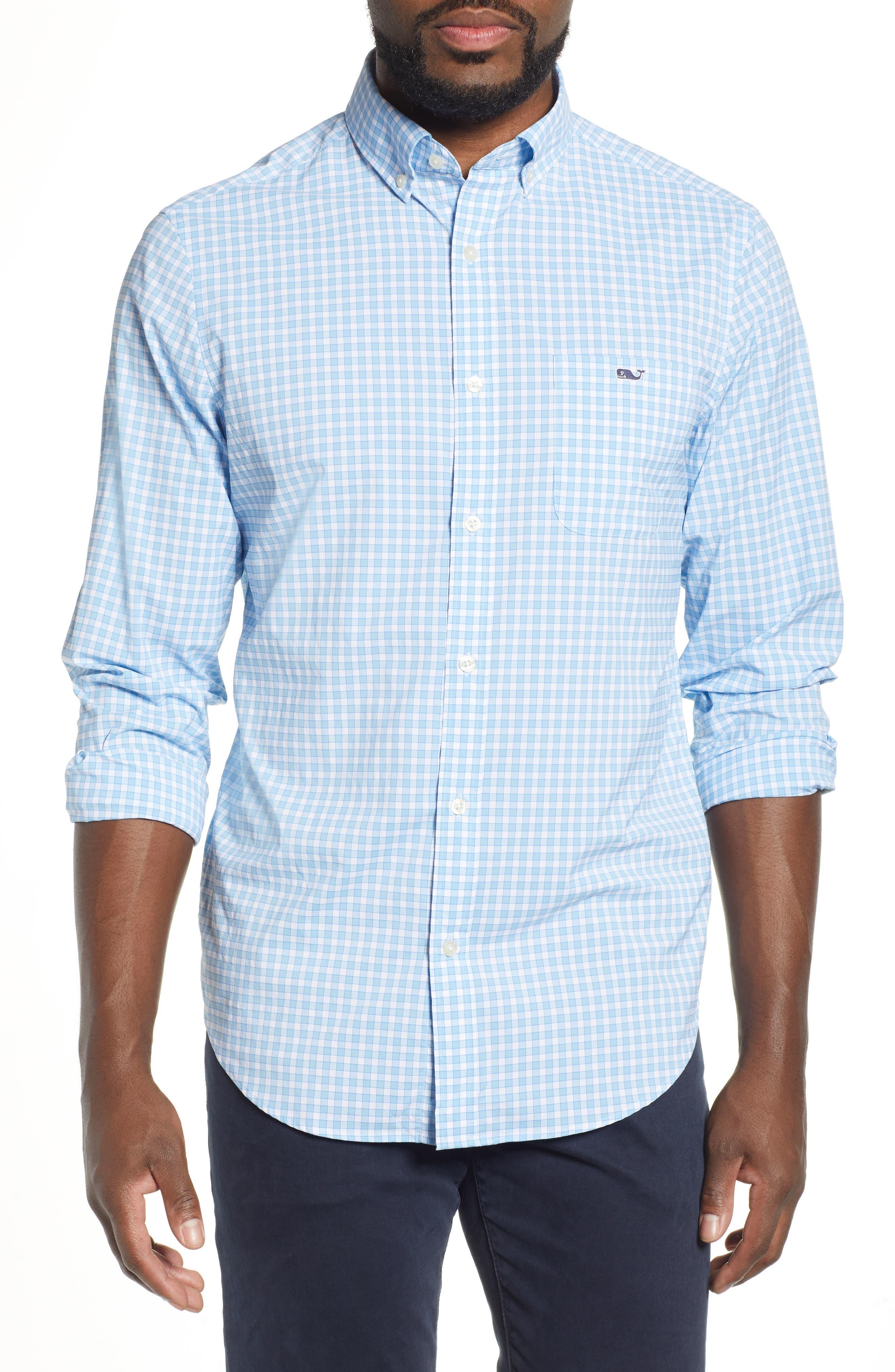 Bermuda Tucker Regular Fit Performance Sport Shirt, Main, color, JAKE BLUE