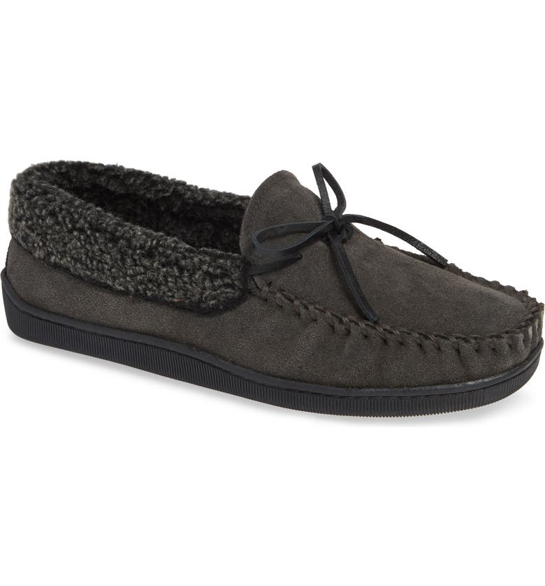 MINNETONKA Allen Moccasin Slipper, Main, color, CHARCOAL SUEDE