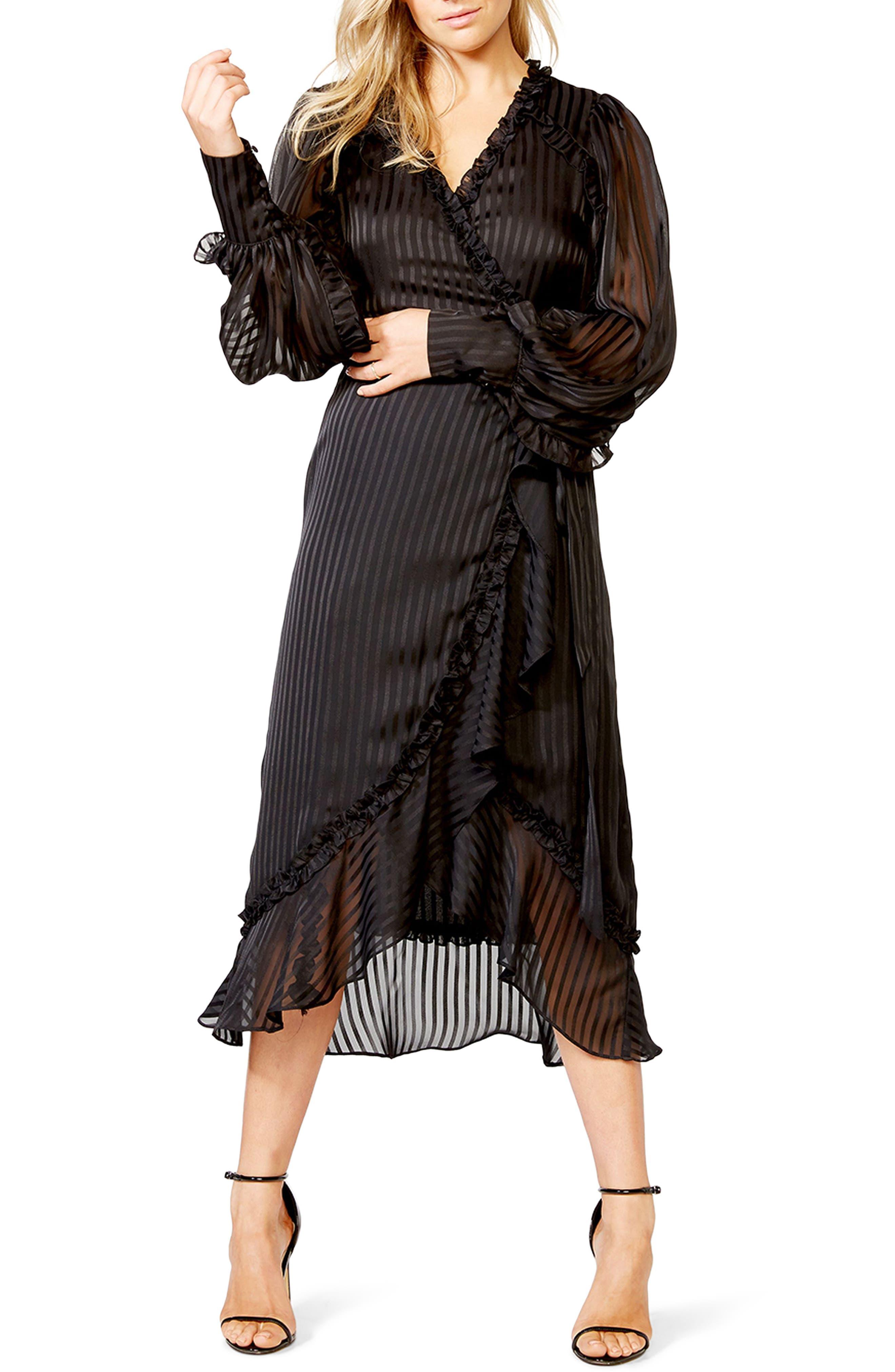 Bardot Whitney Tonal Stripe Long Sleeve Wrap Dress   Nordstrom