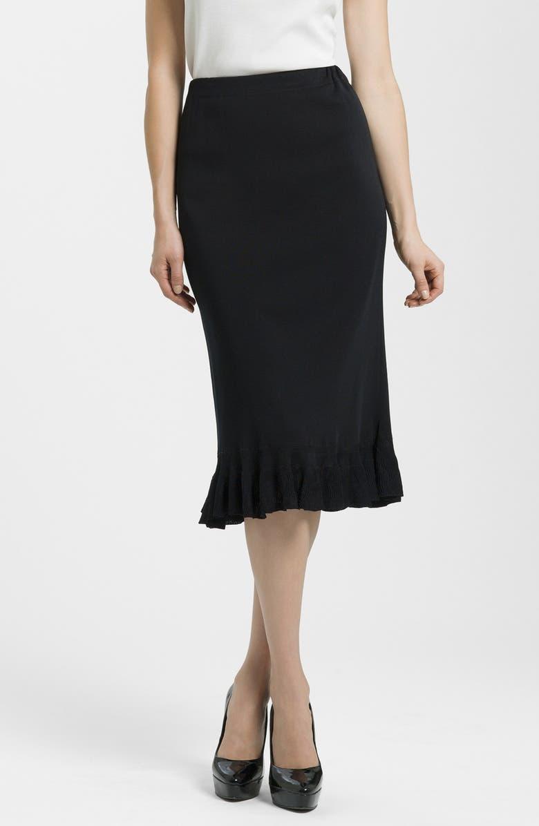 MING WANG Ruffle Hem Knit Midi Skirt, Main, color, BLACK