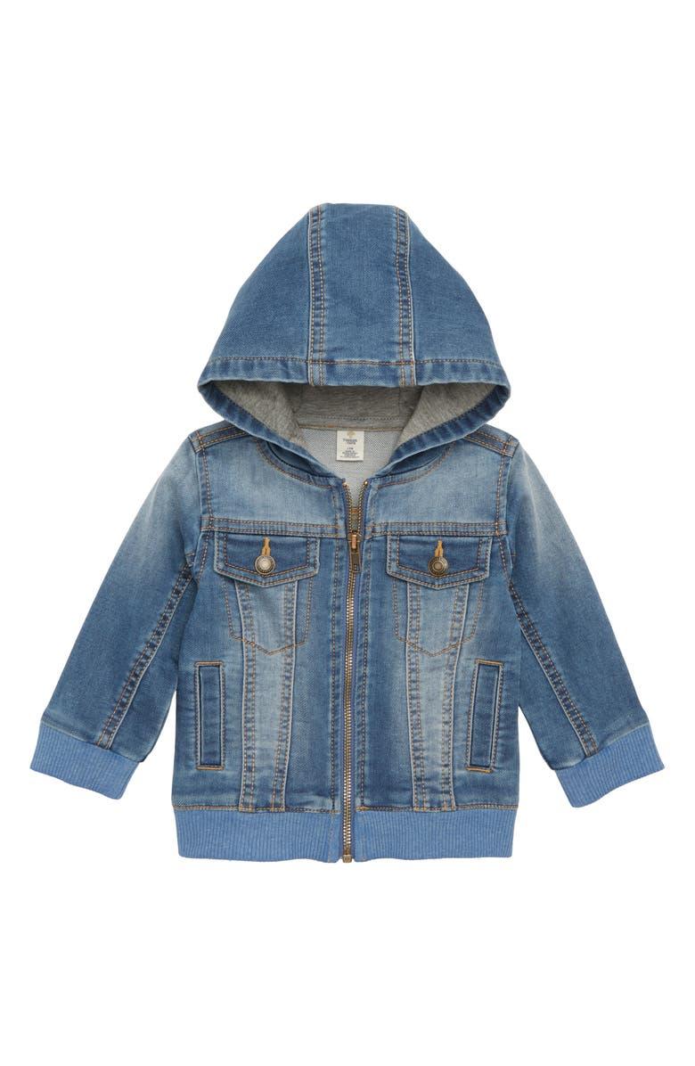 TUCKER + TATE Denim Knit Hooded Jacket, Main, color, 420