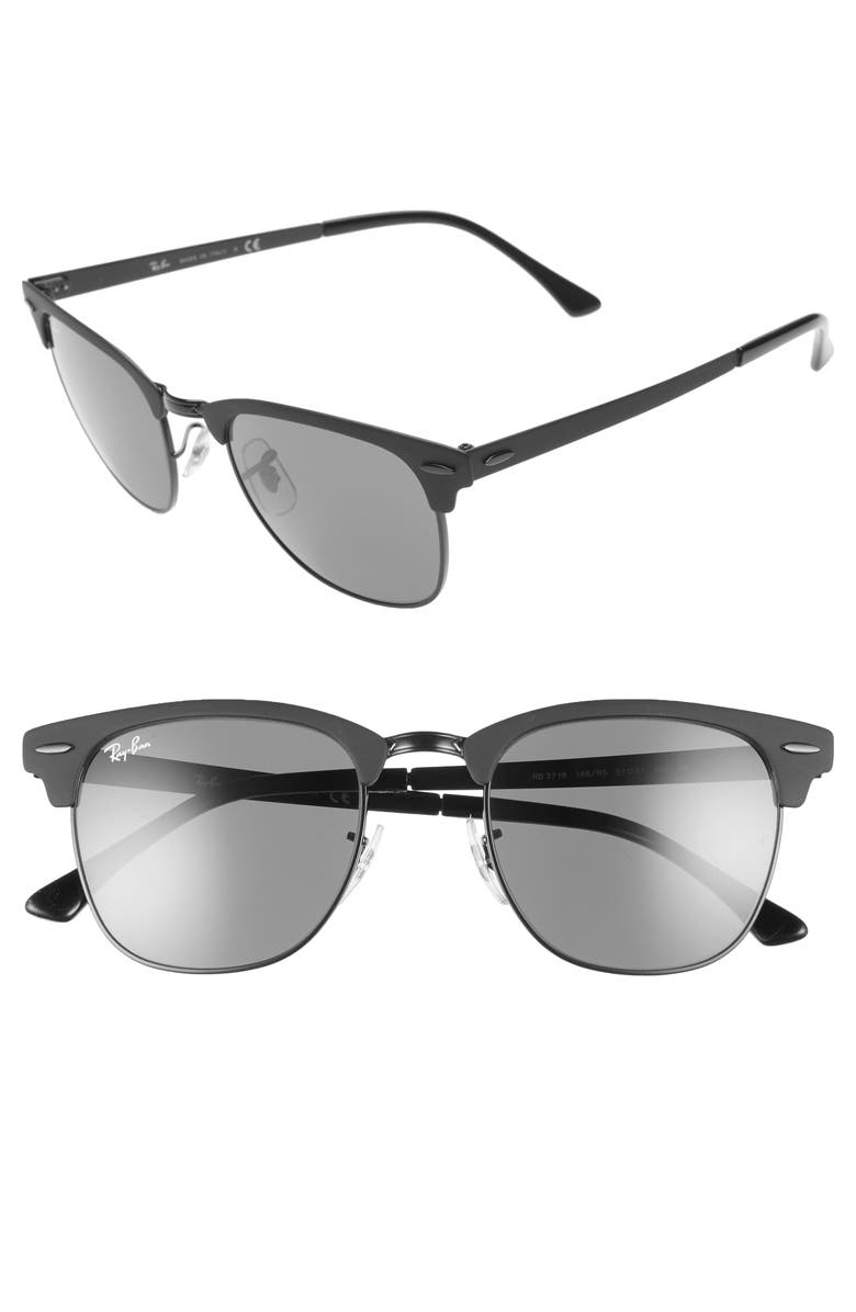 RAY-BAN Clubmaster 51mm Sunglasses, Main, color, 001
