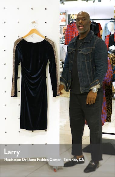 Beaded Long Sleeve Velvet Cocktail Dress, sales video thumbnail