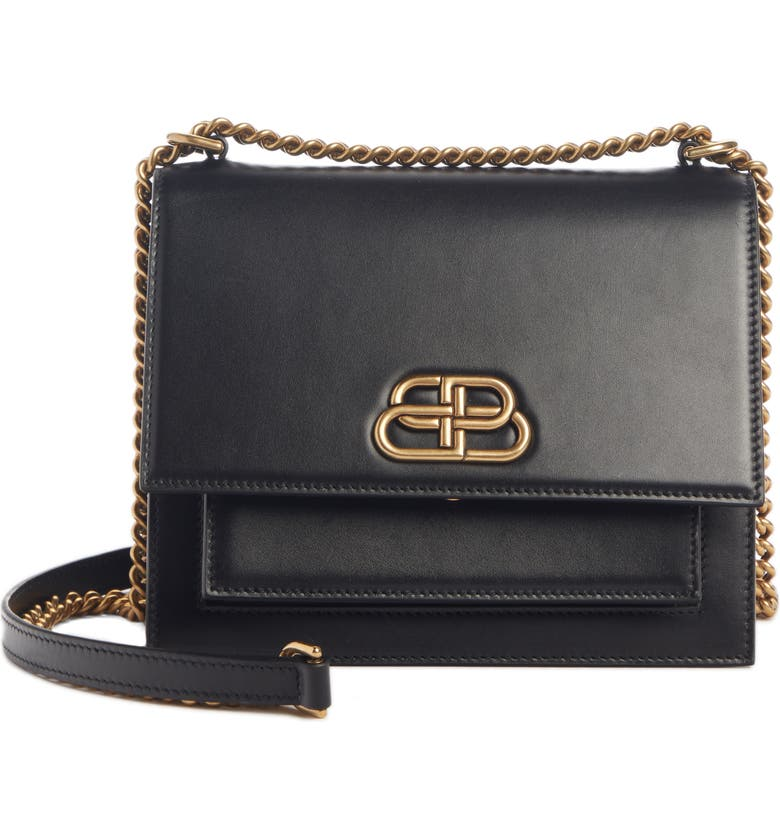 BALENCIAGA Sharp Leather Shoulder Bag, Main, color, BLACK