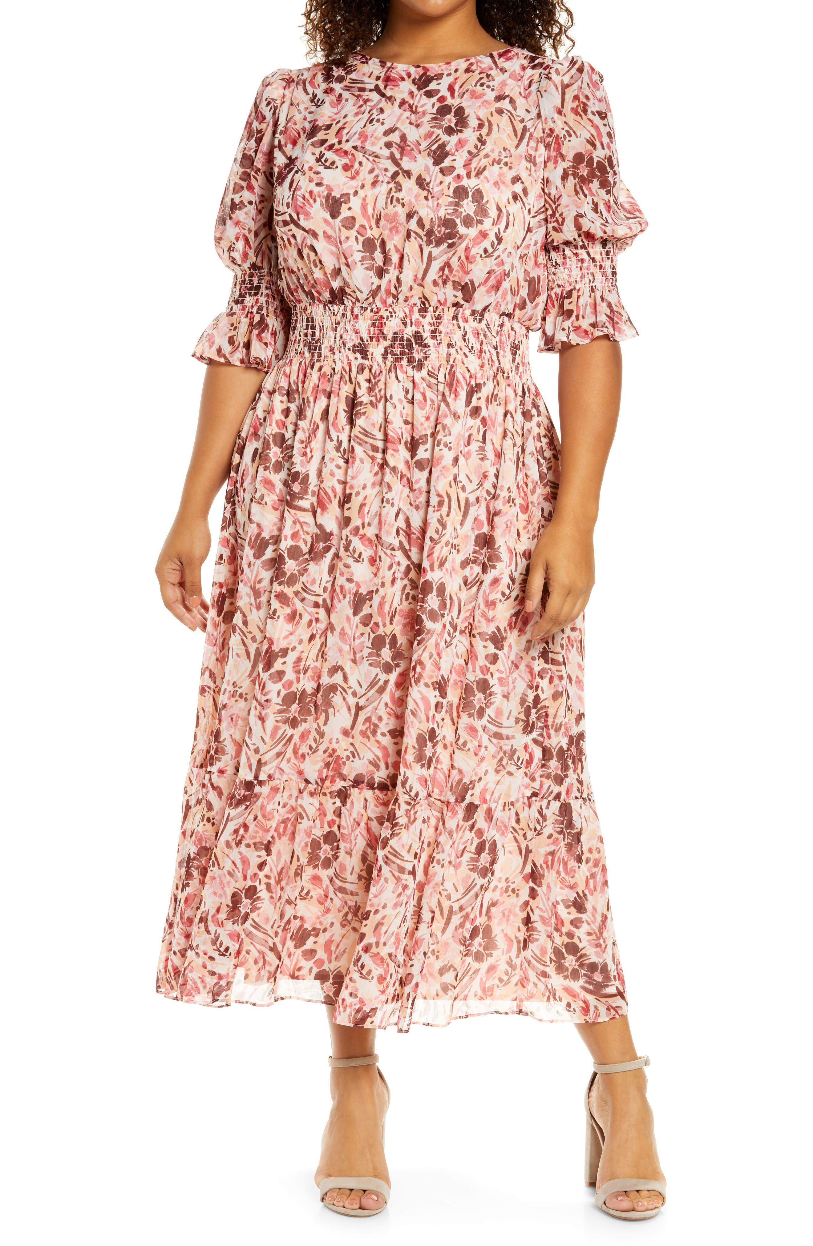Floral Smock Midi Dress