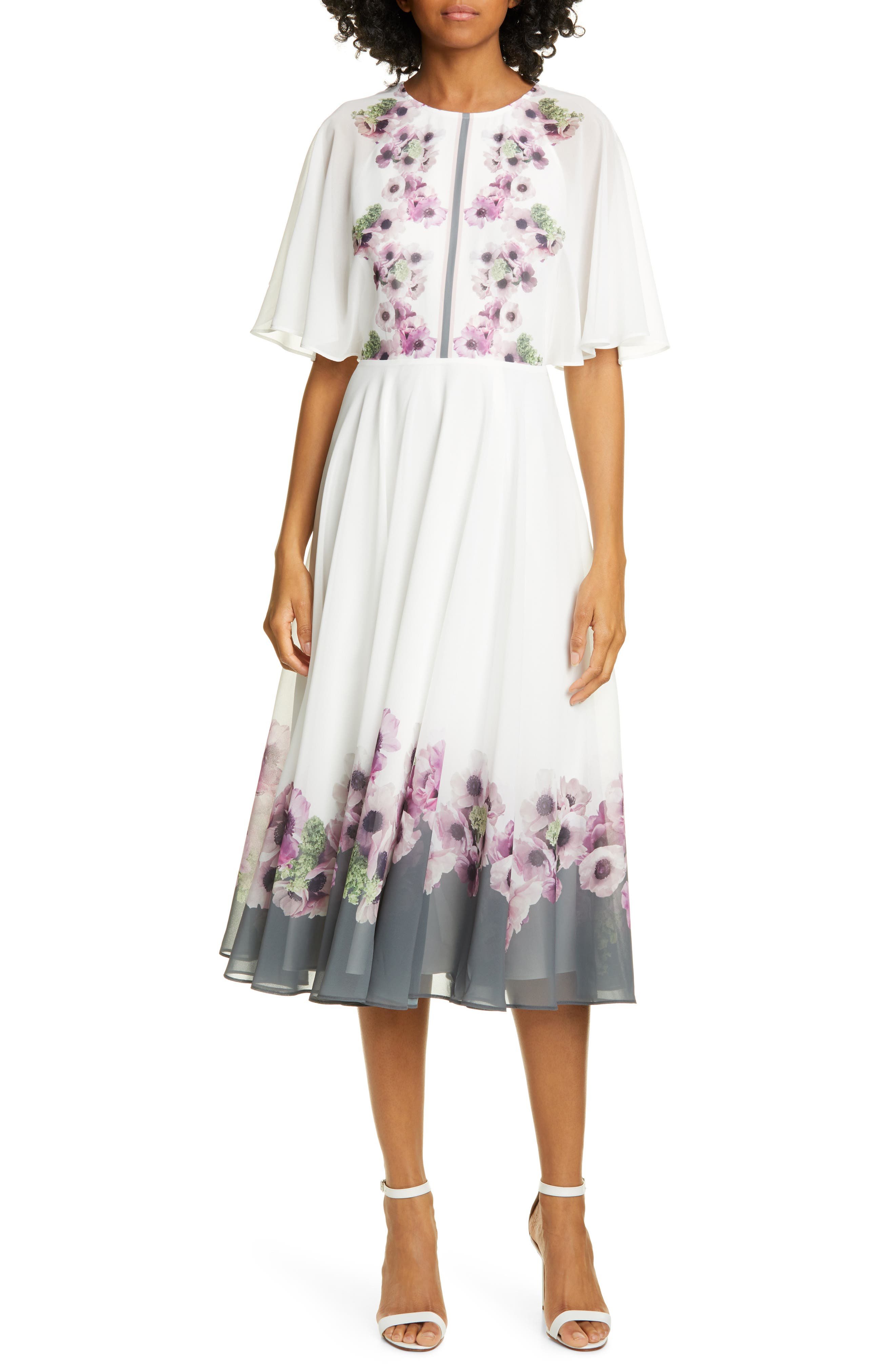 Ted Baker London Neopolitan Floral Back Slit Dress, Ivory