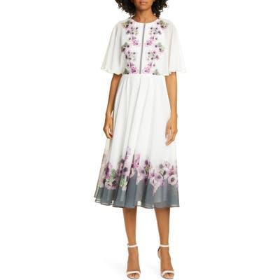 Ted Baker London Neopolitan Floral Back Slit Dress, Ivory