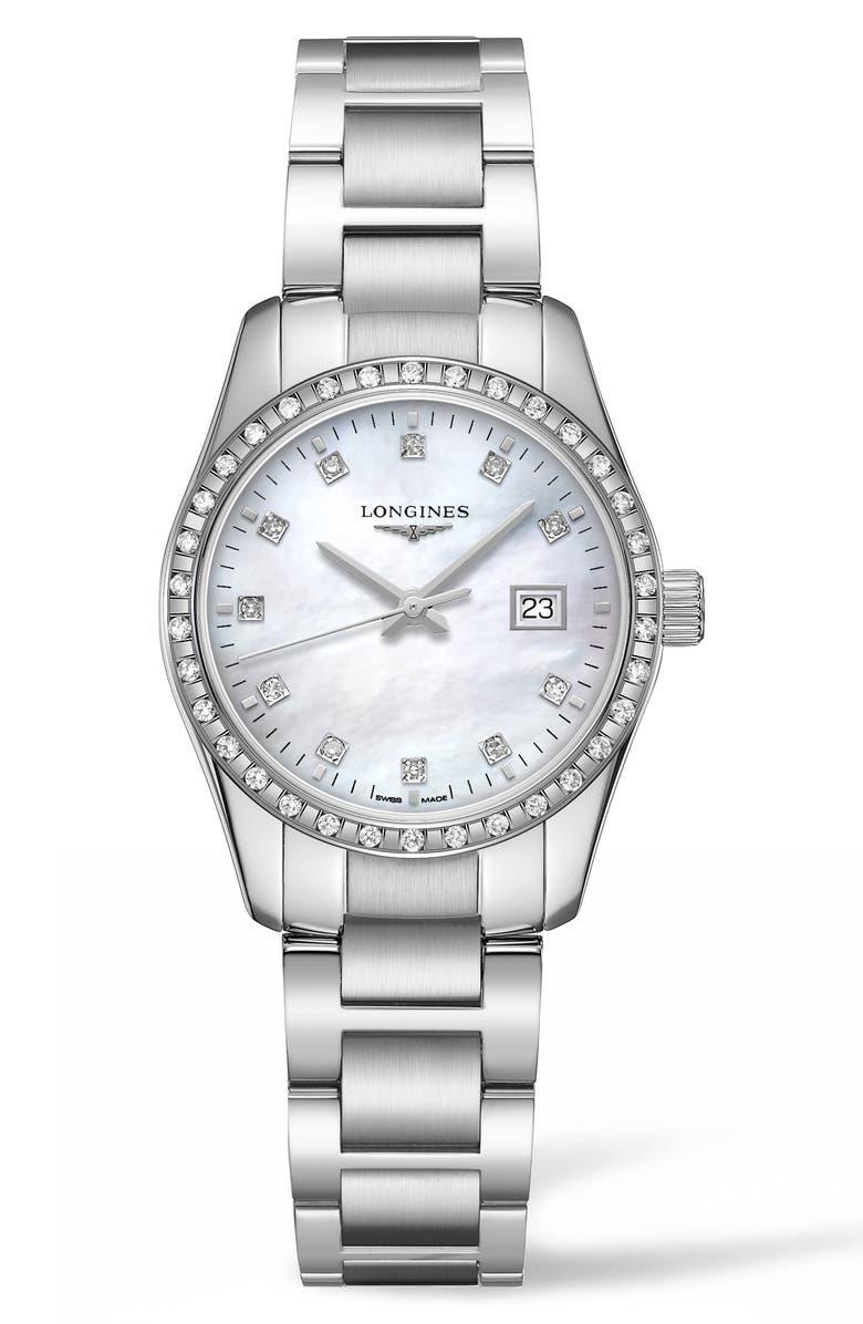 LONGINES Conquest Classic Diamond Bracelet Watch, 29mm, Main, color, SILVER/ MOP/ SILVER