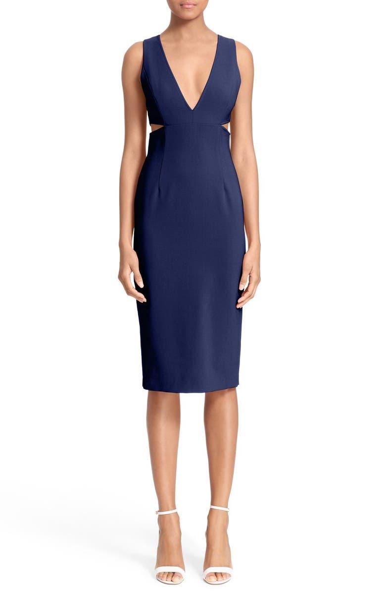 ALICE + OLIVIA 'Rikki' Cutout Midi Dress, Main, color, 460