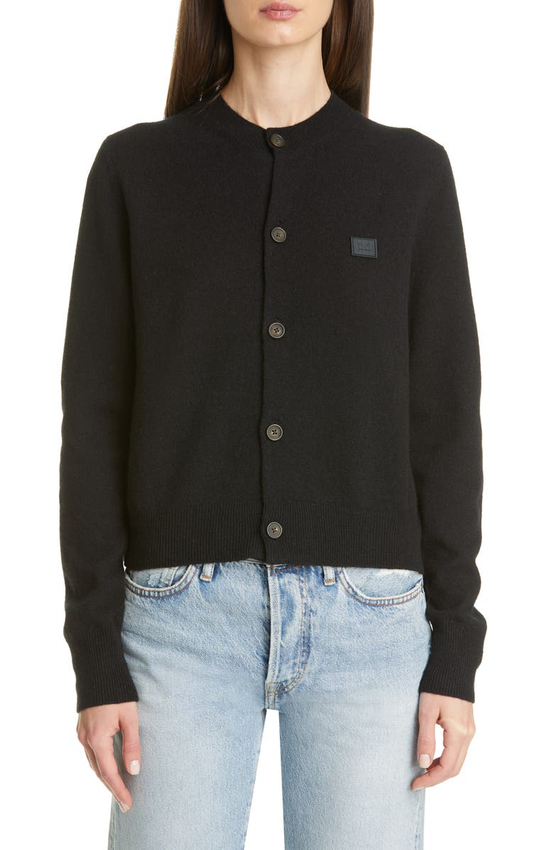 ACNE STUDIOS Keva Face Patch Wool Cardigan, Main, color, BLACK