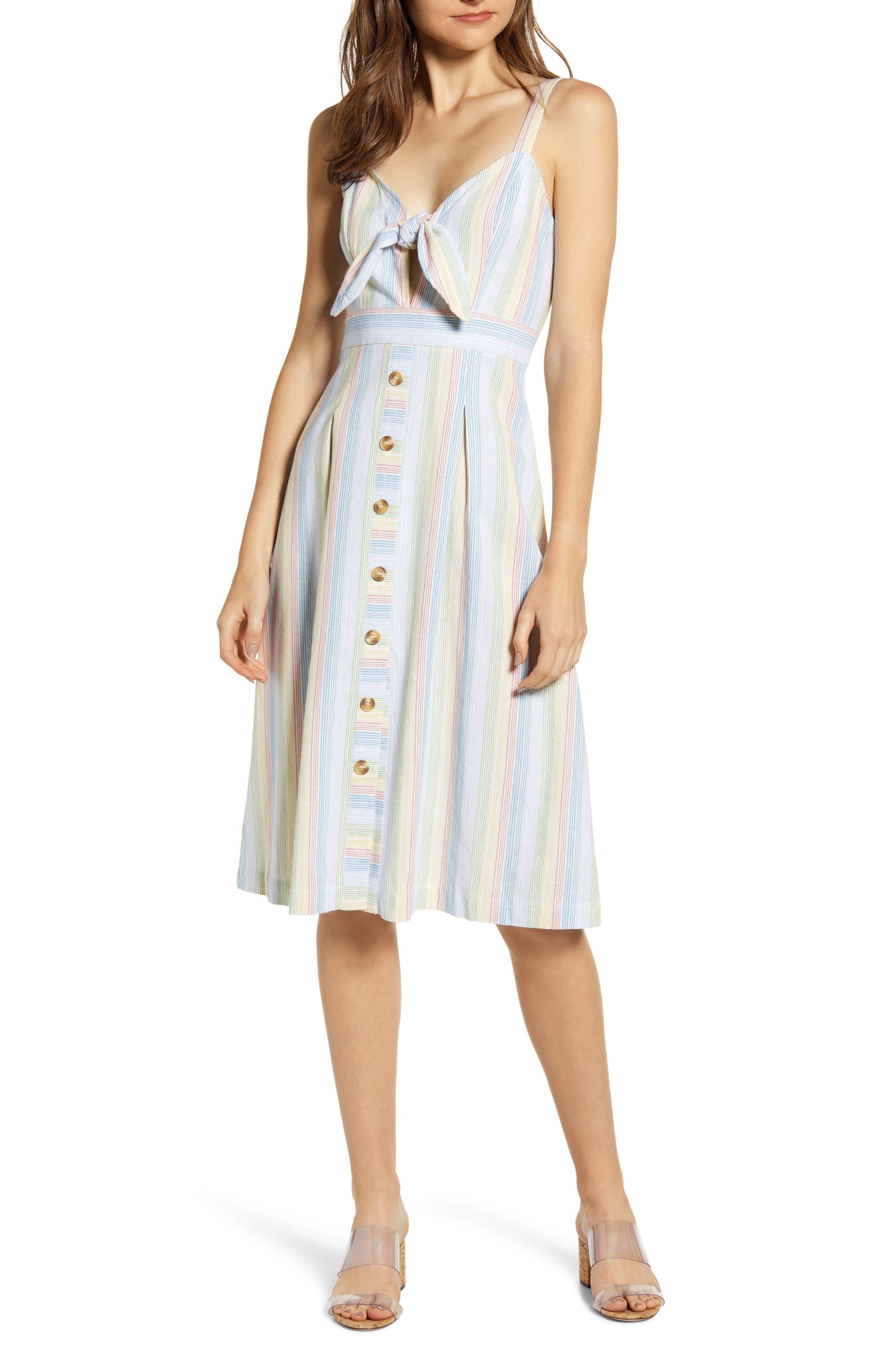 Moon River Tie Front Linen Blend Midi Dress, Blue