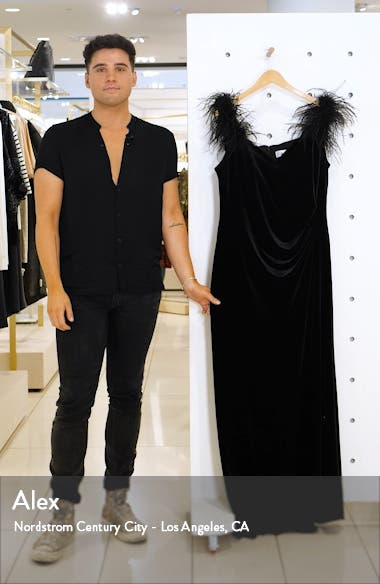 Off the Shoulder Feather Gown, sales video thumbnail