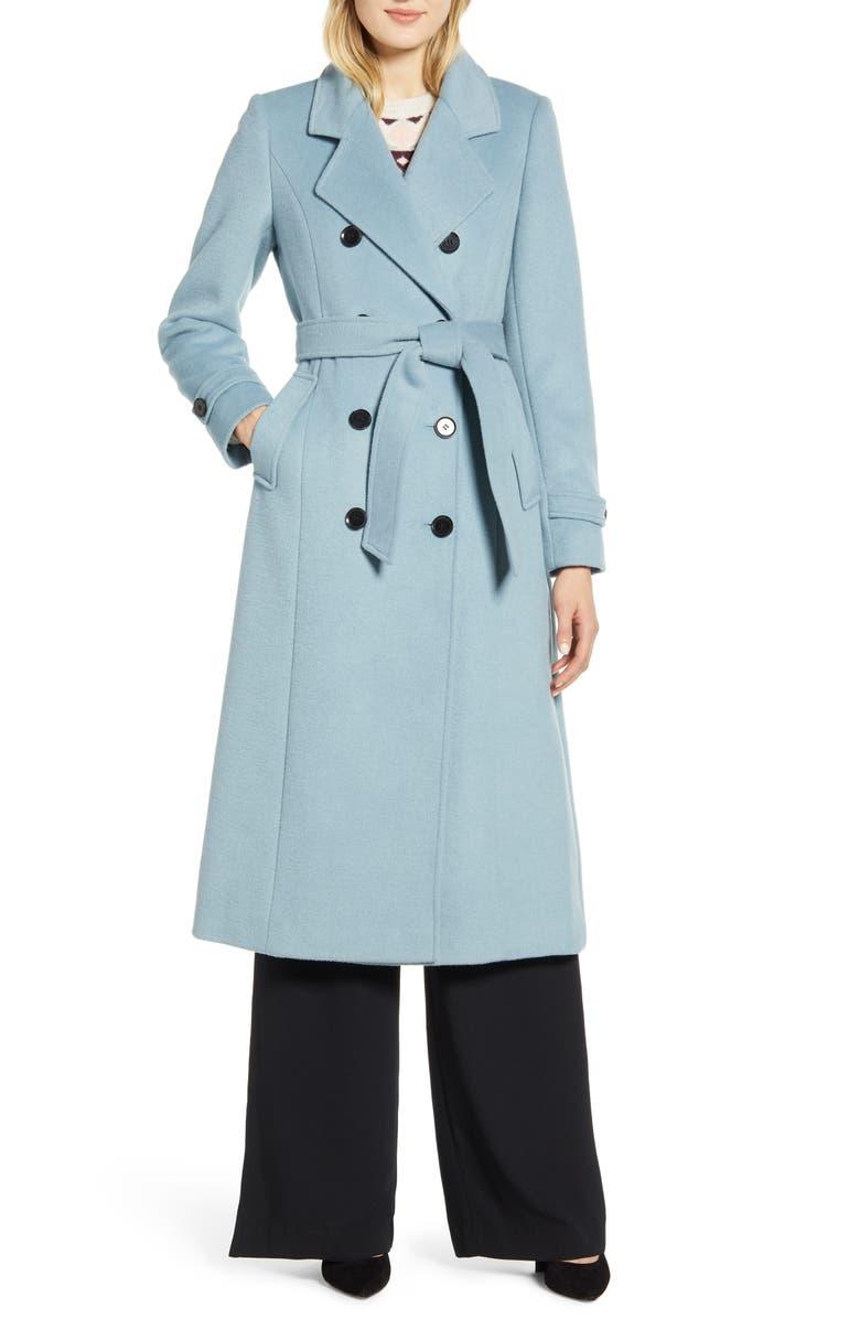 HALOGEN<SUP>®</SUP> x Atlantic-Pacific Long Wool Blend Trench Coat, Main, color, BLUE RAINDROP