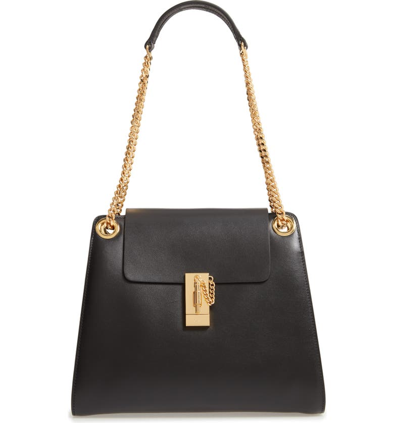 CHLOÉ Annie Medium Leather Shoulder Bag, Main, color, BLACK
