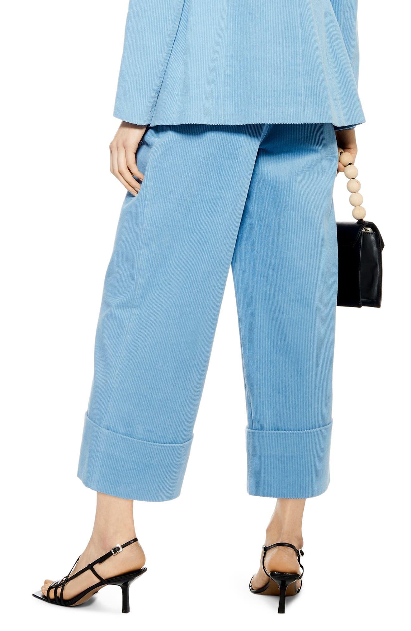 ,                             Crop Wide Leg Corduroy Trousers,                             Alternate thumbnail 2, color,                             BLUE