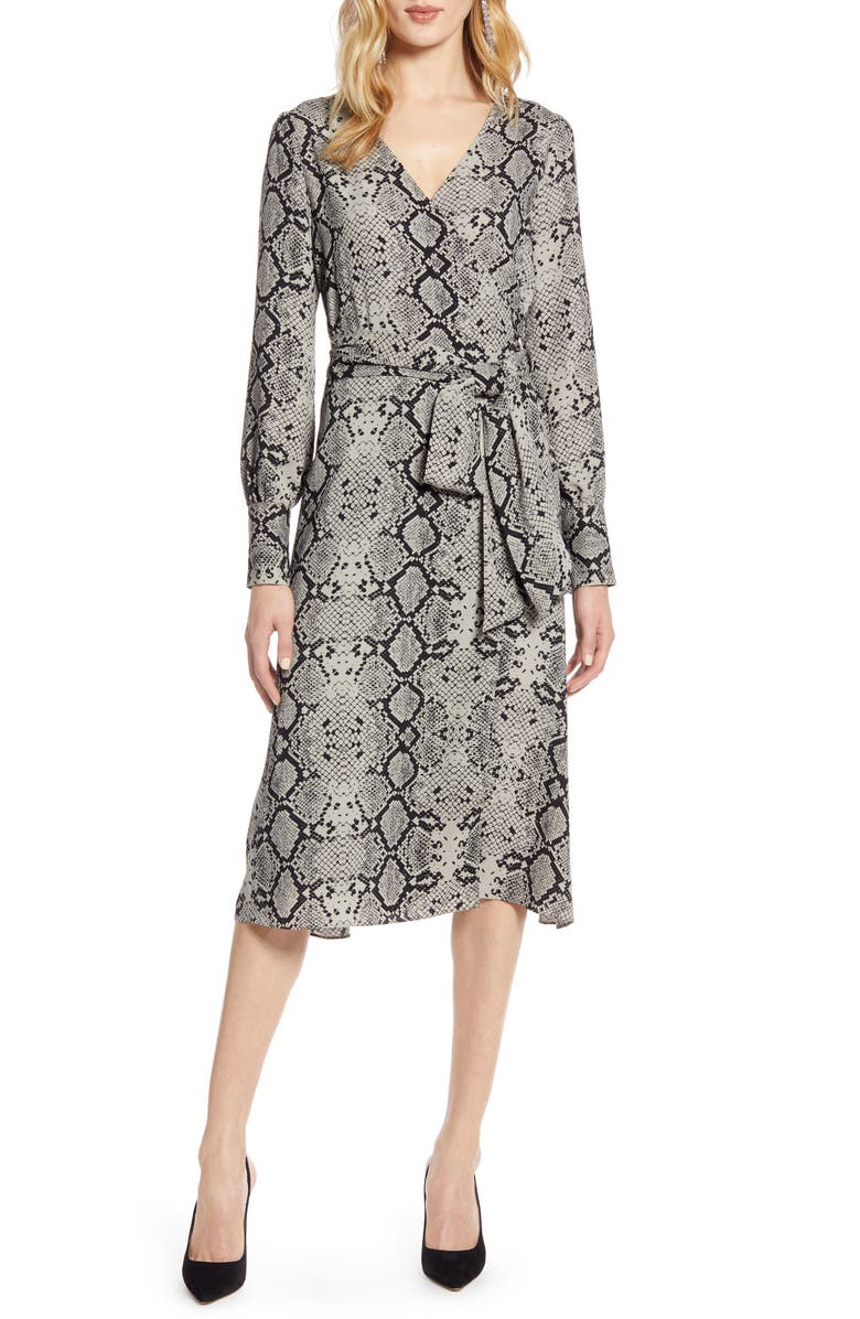 HALOGEN<SUP>®</SUP> Long Sleeve Wrap Midi Dress, Main, color, GREY SNAKE PRINT