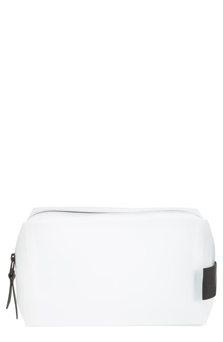 RAINS Small Waterproof Wash Bag, Main, color, FOGGY WHITE