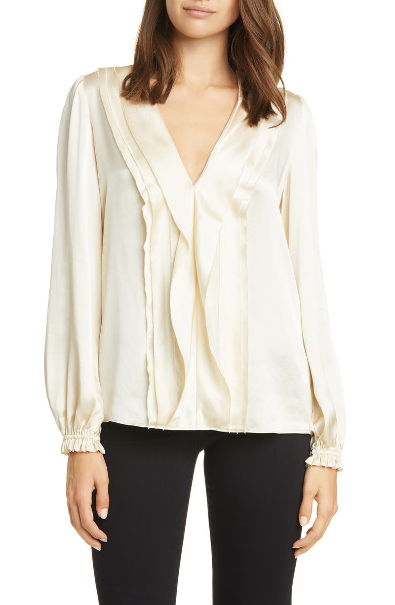 FRAME Ruffle Front Silk Top, Main, color, 001