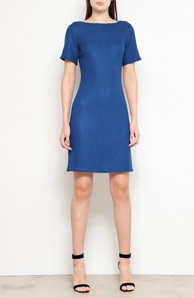 Gridded Texture Knit Sheath Dress, video thumbnail