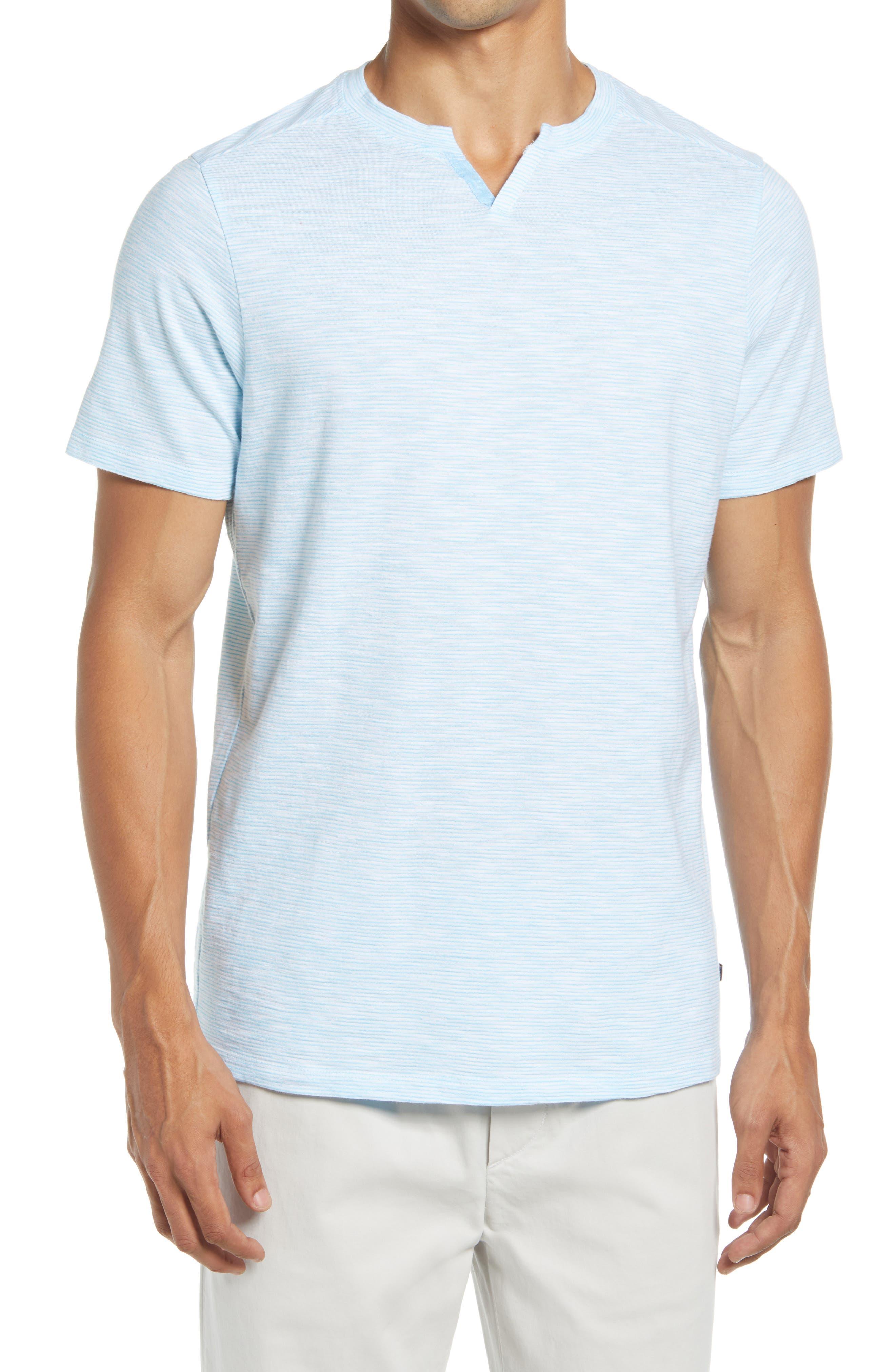 V-Notch Slim Fit Slub Stripe Jersey T-Shirt