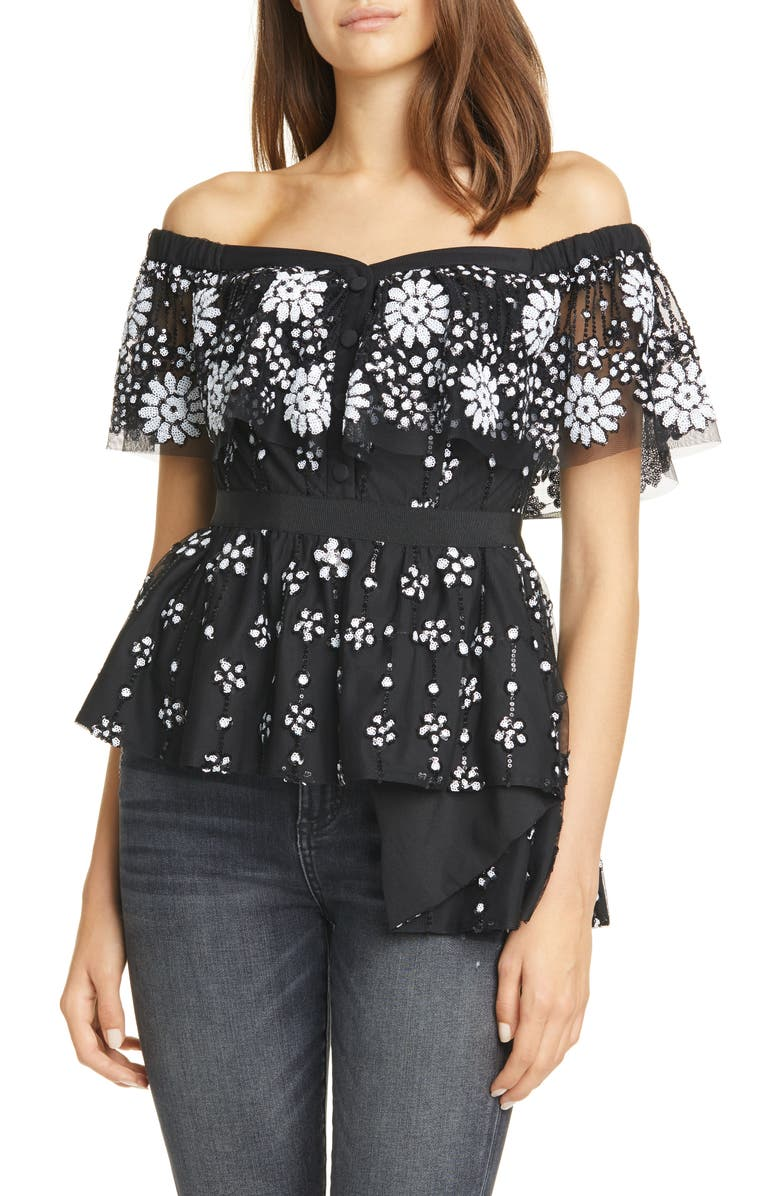 Self Portrait Floral Deco Sequin Off The Shoulder Top