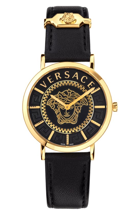 VERSACE V-ESSENTIAL LEATHER STRAP WATCH, 36MM