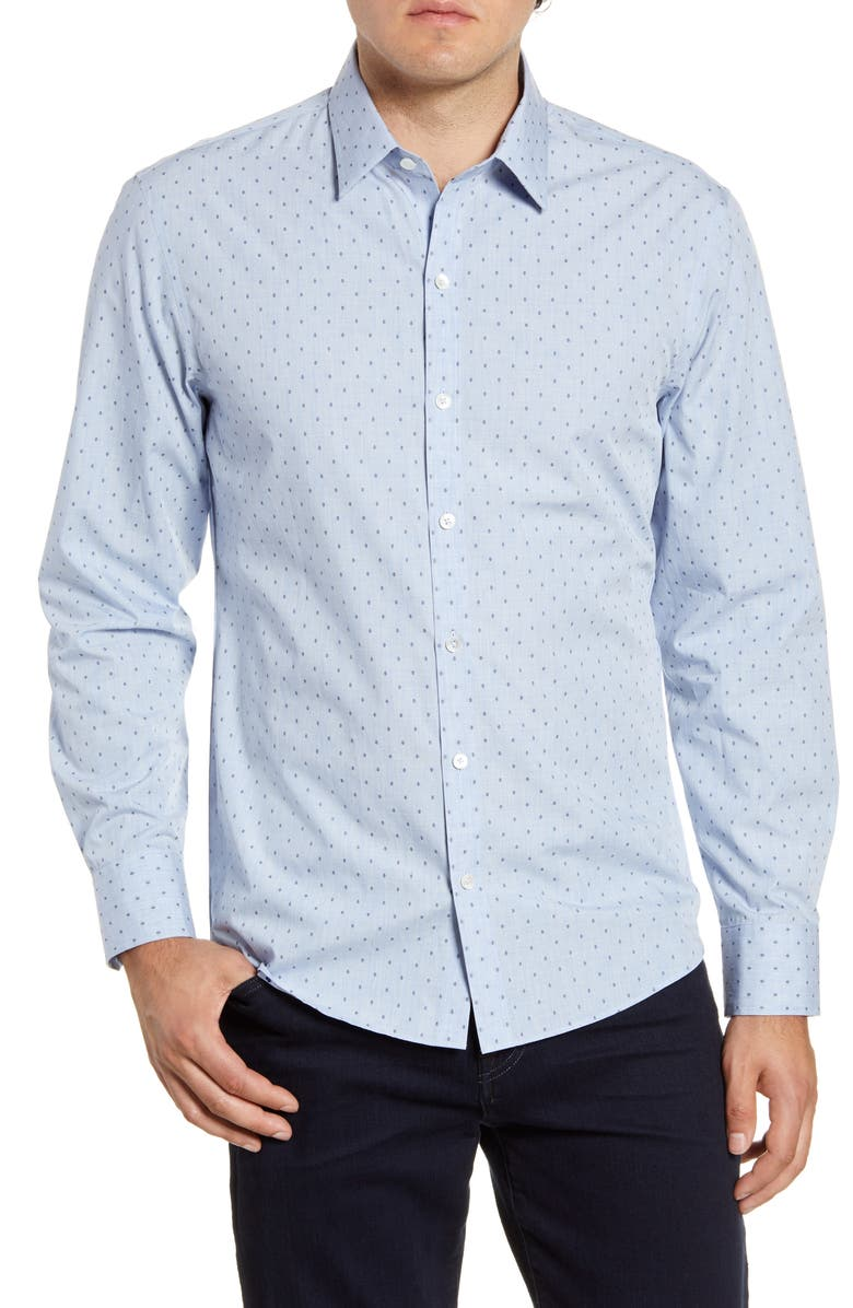 ZACHARY PRELL Ricketts Regular Fit Print Button-Up Shirt, Main, color, ICE