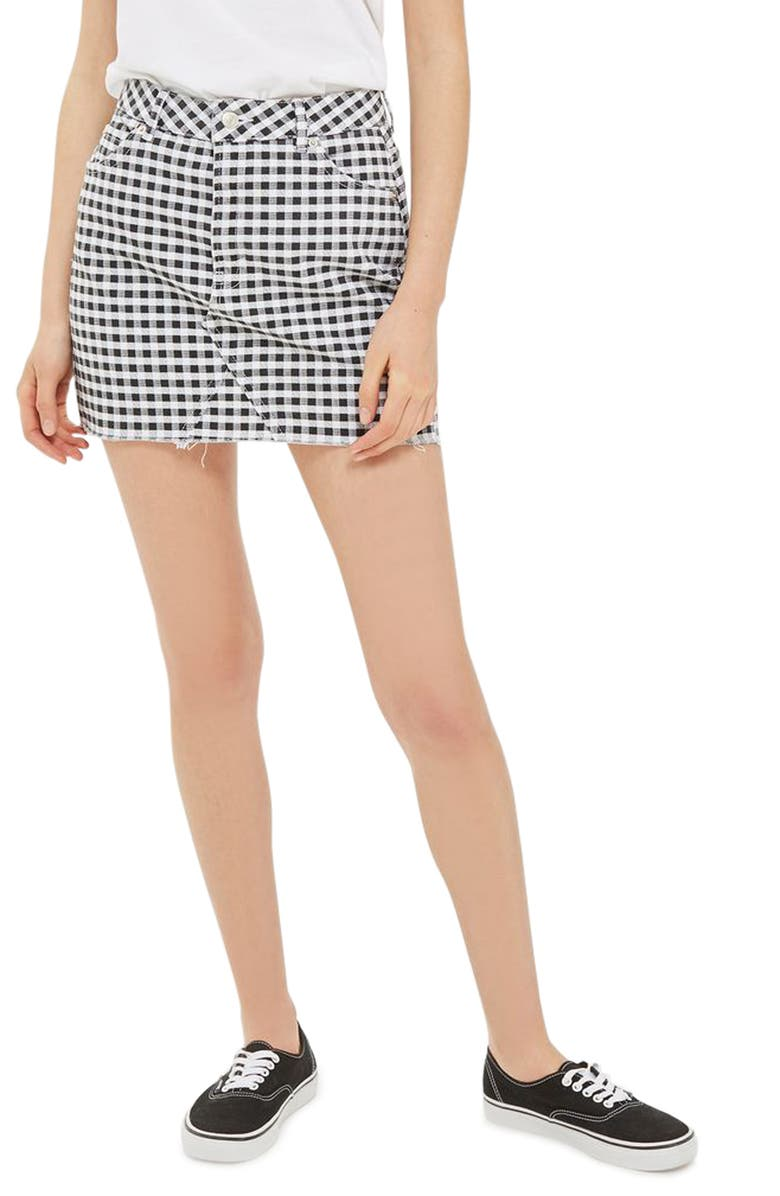TOPSHOP Gingham Miniskirt, Main, color, 001