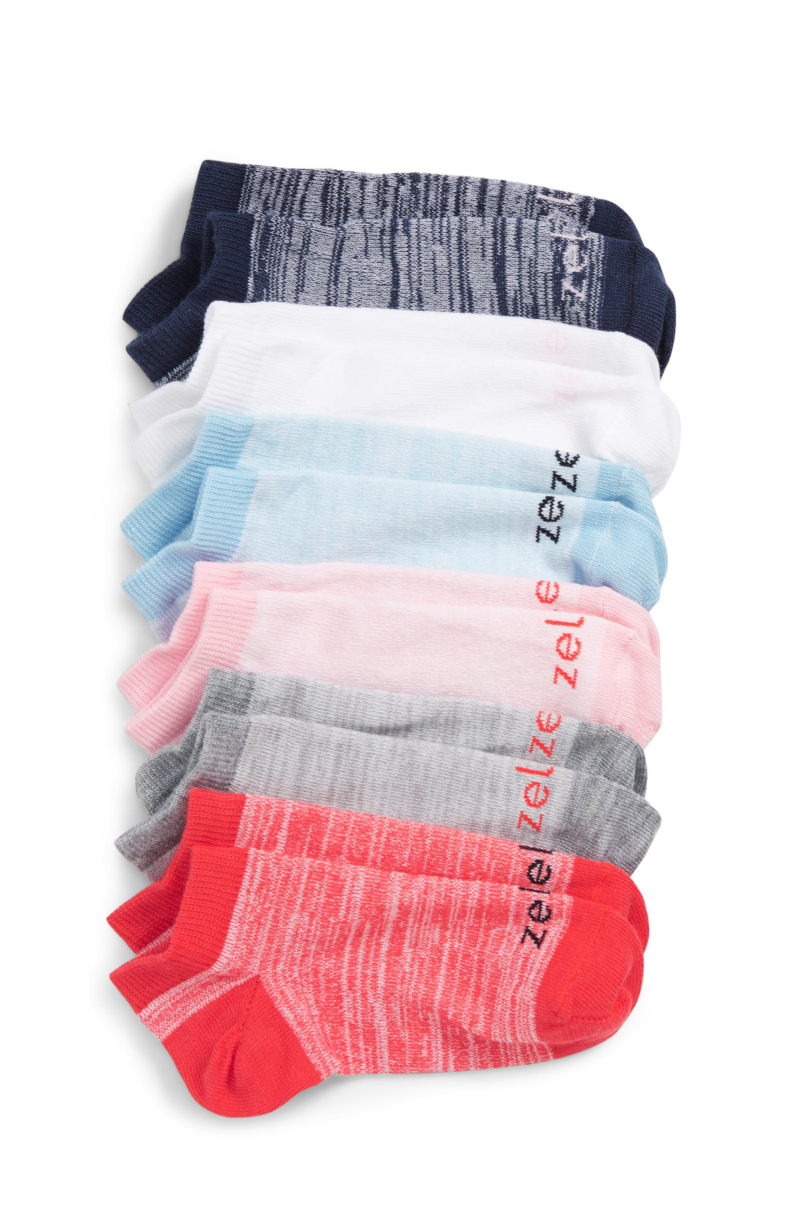 6-Pack Ankle Socks, Main, color, PINK TEABERRY MULTI