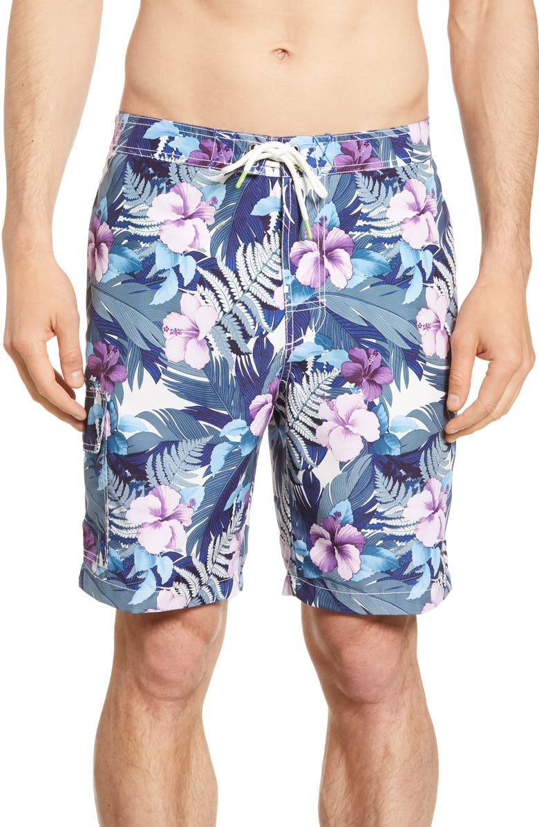 TOMMY BAHAMA Baja Hibiscus Hues Board Shorts, Main, color, COBALT HAZE