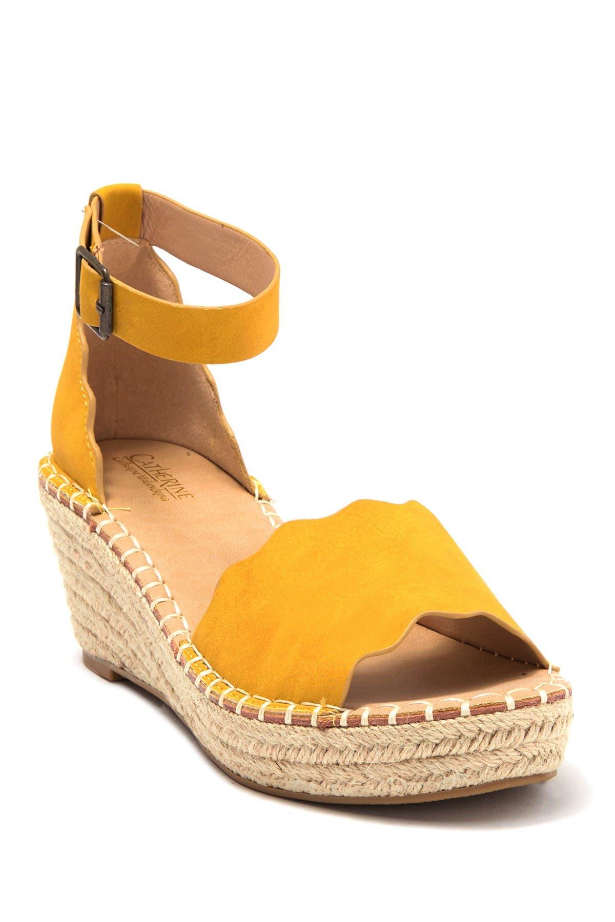 Image of Catherine Catherine Malandrino Margo Scalloped Espadrille Platform Wedge Sandal