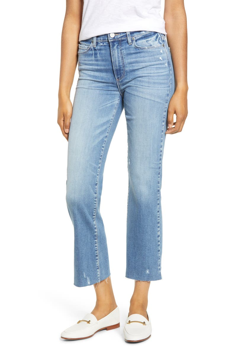 PAIGE Atley High Waist Raw Hem Crop Flare Jeans, Main, color, LUAU DISTRESSED