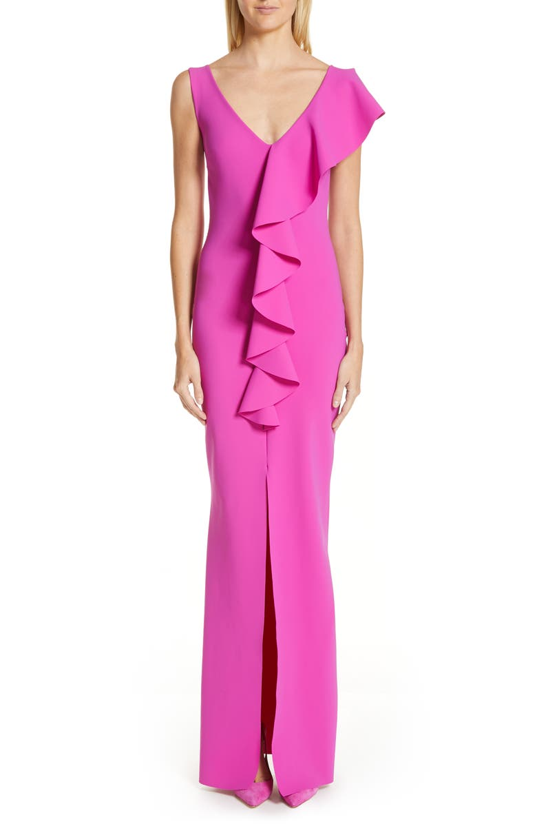 CHIARA BONI LA PETITE ROBE Boudicea Ruffle Evening Dress, Main, color, PETUNIA