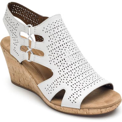 Rockport Cobb Hill Janna Perforated Wedge Sandal- White