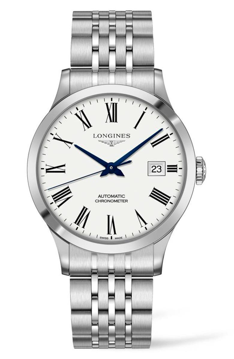 LONGINES Record Automatic Bracelet Watch, 40mm, Main, color, SILVER/ WHITE/ SILVER