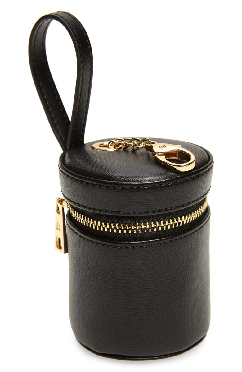 TOMMY AND BELLA Tommy & Bella Signature Collection Leather Treat Bag, Main, color, BLACK/ BLACK TRIM