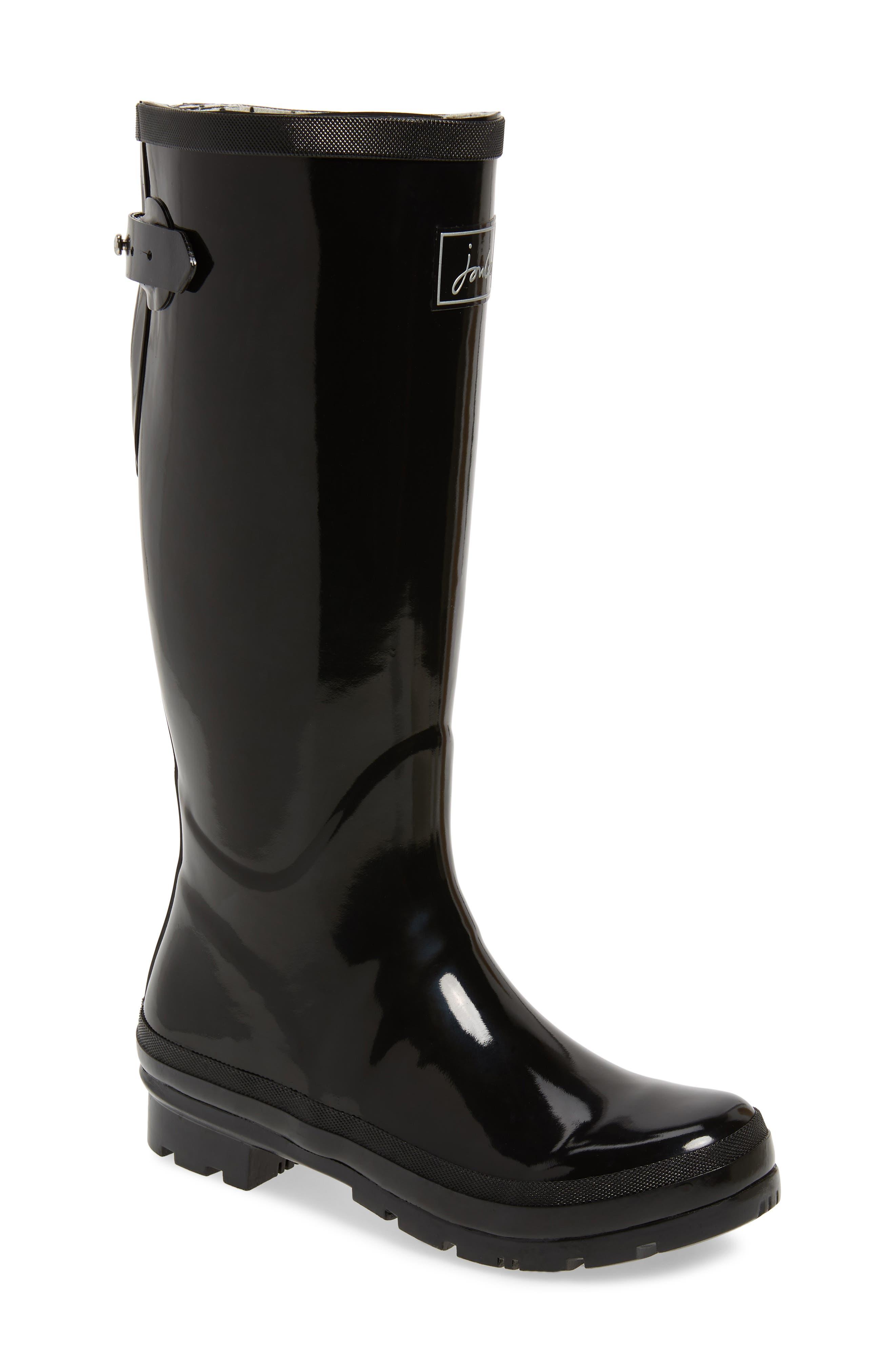 Joules Tall Welly Waterproof Rain Boot, Black