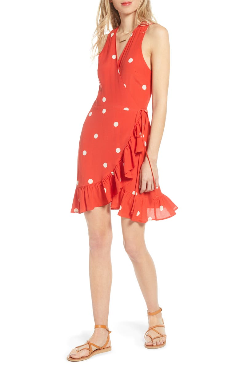 RAILS Madison Ruffle Sleeveless Wrap Dress, Main, color, SCARLET DOTS