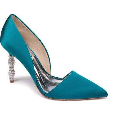 Badgley Mischka Emily Crystal Heel Pointed Toe Pump, Green