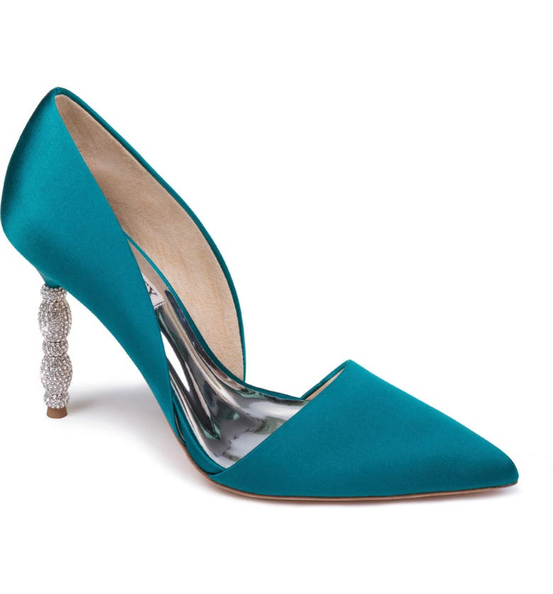 BADGLEY MISCHKA COLLECTION Badgley Mischka Emily Crystal Heel Pointed Toe Pump, Main, color, EMERALD SATIN