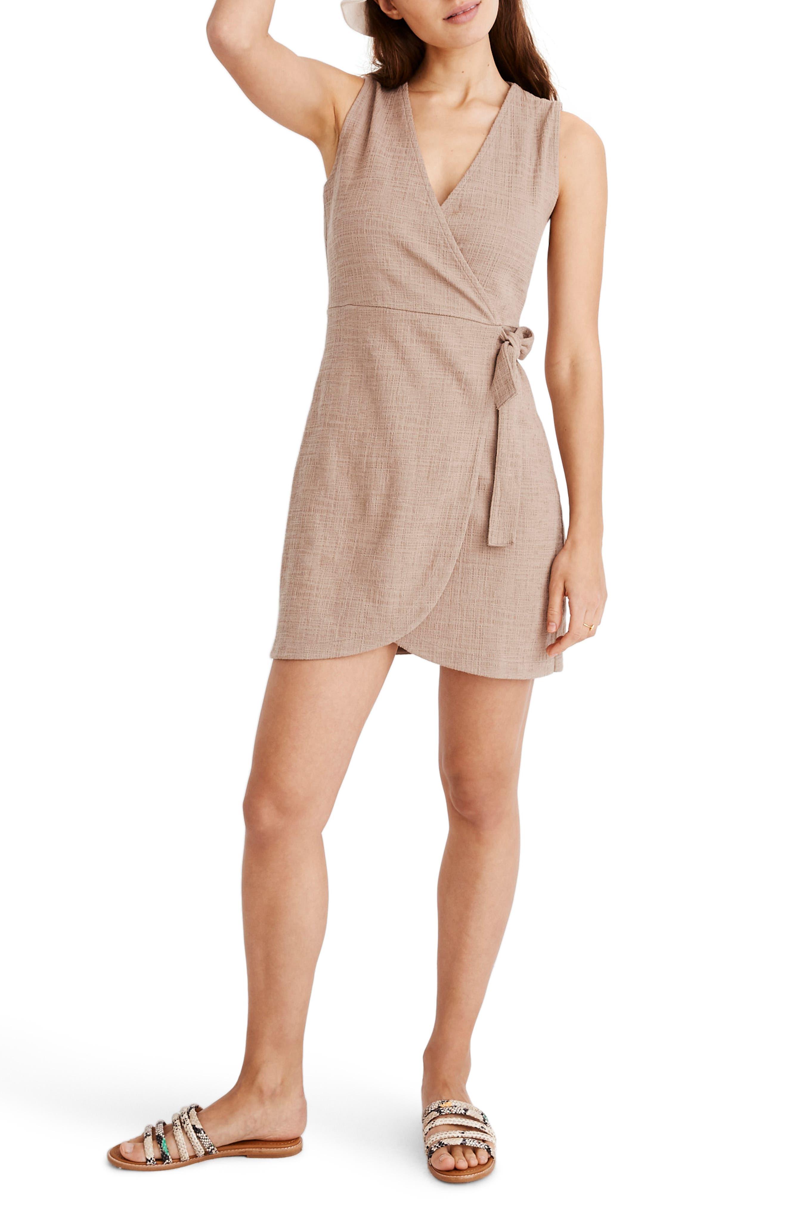 Madewell Texture & Thread Side Tie Minidress, Beige