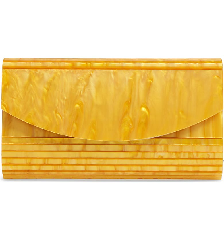 NORDSTROM Rounded Lucite<sup>®</sup> Flap Clutch, Main, color, GOLD