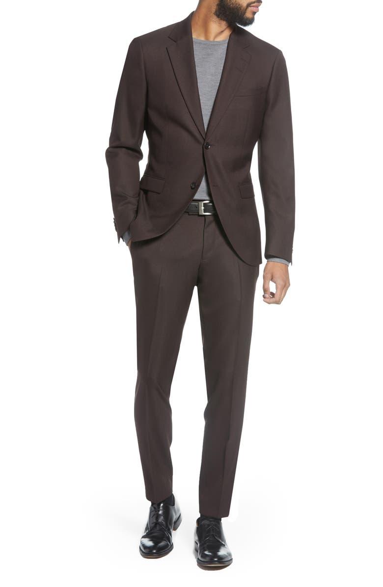 TIGER OF SWEDEN Jamonte Trim Fit Solid Suit, Main, color, REGAL RED
