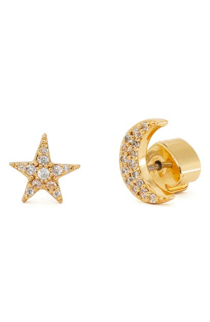 Kate Spade Women's Something Sparkly Goldtone & Pave Mismatched Star & Moon Stud Earrings In Clear/ Gold