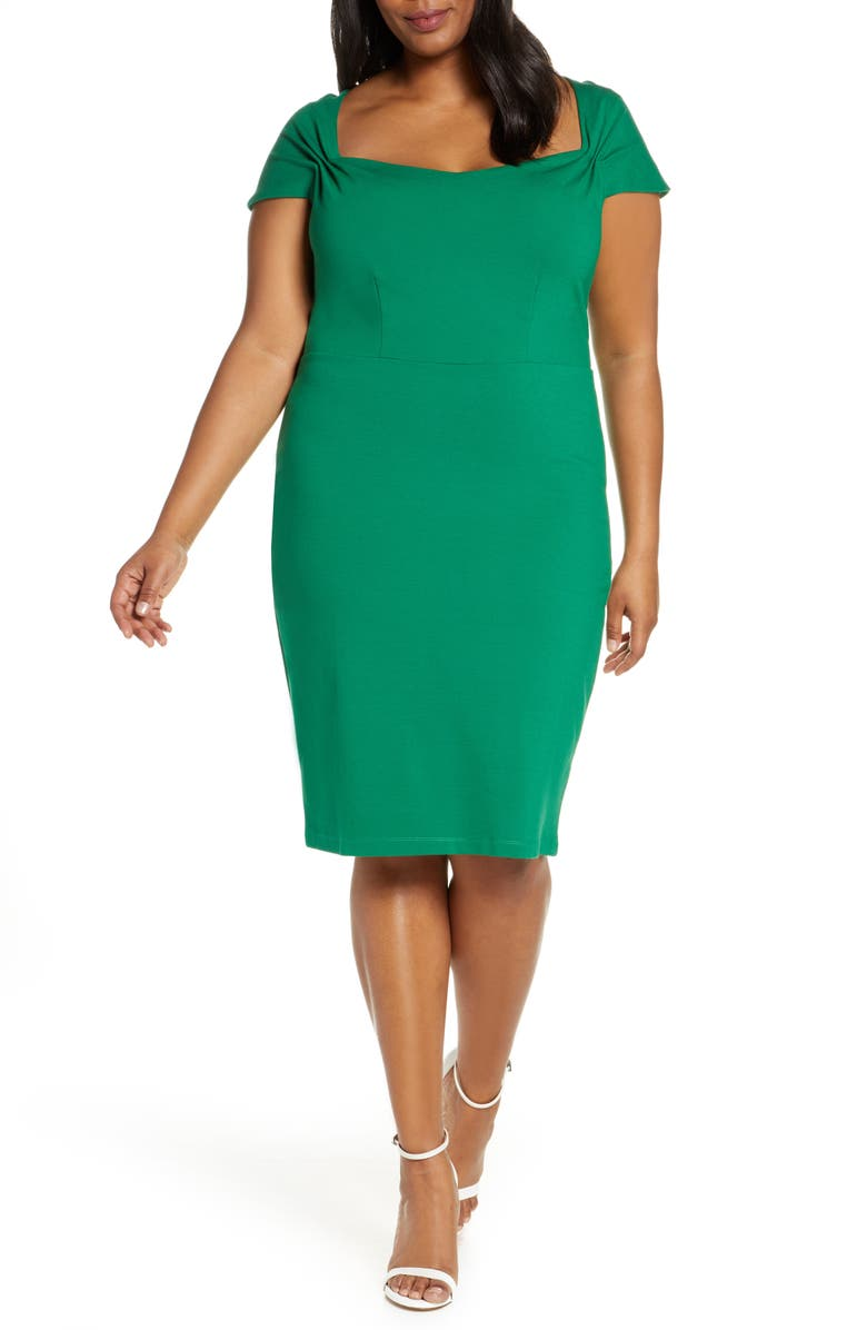 ELOQUII Portrait Neck Sheath Dress, Main, color, VERDANT GREEN