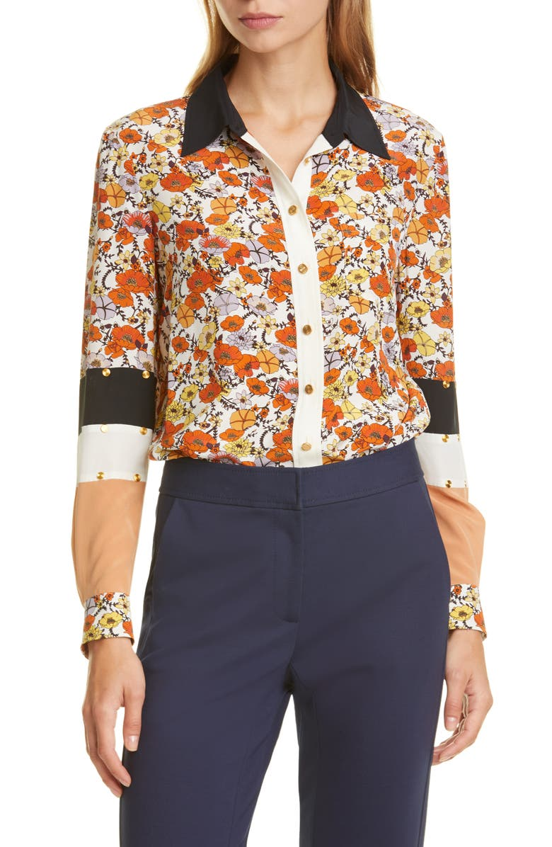TORY BURCH Studded Patchwork Silk Shirt, Main, color, IVORY BLOSSOM DITSY